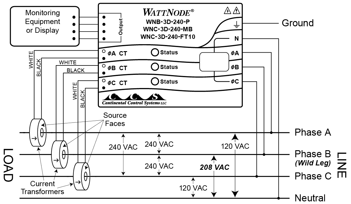 Four Wire Delta Circuits Continental Control Systems Llc 120v Vs 240v Baseboard Heater Wiring Diagram Connection